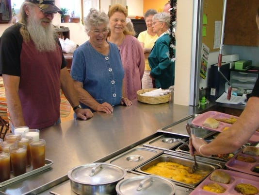 lunch line at a senior center
