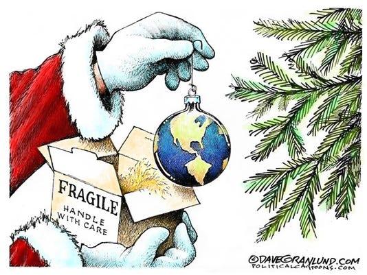 Cartoon: Christmas fragile globe