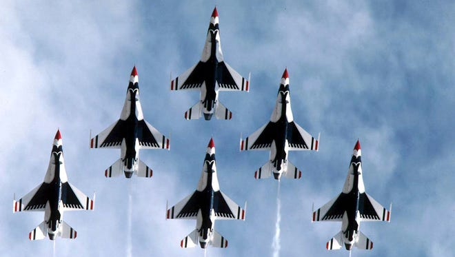 The U.S. Air Force Air Demonstration Squadron, the Thunderbirds, performs precision aerial maneuvers demonstrating the capabilities of Air Force high performance aircraft to people throughout the world. The squadron exhibits the professional qualities the Air Force develops in the people who fly, maintain and support these aircraft.