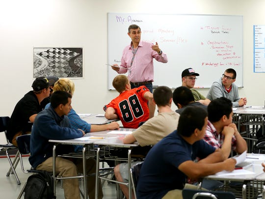 Technical math teacher Mark Atkinson speaks to his class at the recently opened Career and Technical Education Center, Thursday, September 10, 2015, in Salem, Ore.