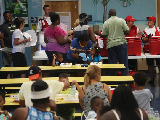Families impacted by Hurricane Irma receive a meal