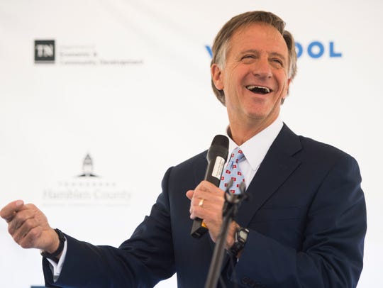 Gov. Bill Haslam speaks during the announcement of