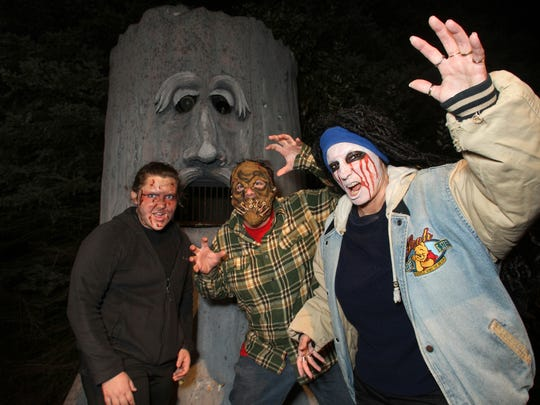 Guests to the Terrorfied Forest and Mortuary in Putnam Township are most certain to have encounters with assorted ghouls and crazed maniacs such as those portrayed by (from left) Gabrielle Kirchner, Brian Ciminelli and Cheryl Lindeman.