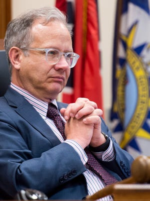 Vice Mayor David Briley listens to councilmembers during a metro council meeting at City Hall in Nashville, Tenn., Tuesday, June 20, 2017. The Metro Council voted on an ordinance regarding civil immigration laws.