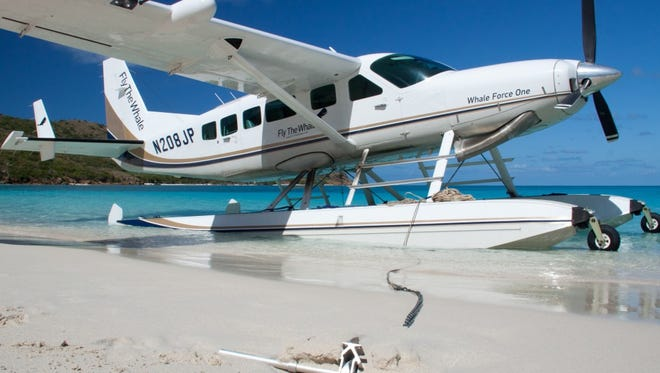 This is a picture of an 8-seat passenger sea plane from Fly the Whale, a New York based company partnering with St. Lucie County to provide scheduled commercial service to Tallahassee and Grand Bahama Island from Treasure Coast International Airport.