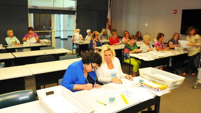 Election workers were canvassing mail-in ballots on Monday at the Brevard County Supervisor of Elections Office in Viera, in preparation for Tuesday's election.