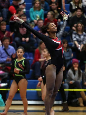 Nyack's Amara Cunningham finishes up her routine in the Floor Exercise during the Section 1 Gymnastic Championship on Tuesday.