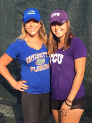 Naples' Victoria Emma, left, and Bonita Springs' Stevie Kennedy, both homeschool students, signed college letters of intent Wednesday, Nov. 9, 2016. Emma will play at Florida, while Kennedy signed with TCU.