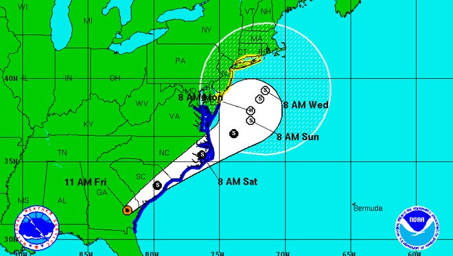 11 a.m. track of Tropical Storm Hermine.