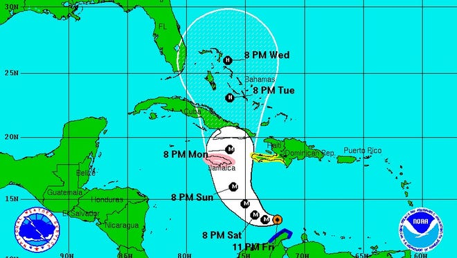 The cone of probability for Hurricane Matthew as predicted at 11 p.m. on Friday, Sept. 30.