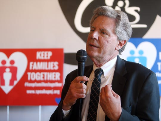 Congressman Frank Pallone speaks during a news conference at Cai's Cafe in Metuchen, celebrating a federal district court judge granting a temporary restraining order halting deportations of Indonesian Christian residents of Central Jersey in response to a federal class action lawsuit.