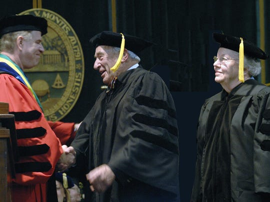 Malcolm Severance and Gladys Clark Severance receiving honorary degrees at the University of Vermont commencement in 2008.