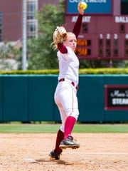 Florida State redshirt sophomore starter Meghan King struck out eight batters while surrendering one run off seven hits in 6 2/3's innings of work.
