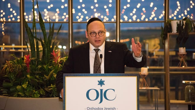 April  26, 2017 HOLMDEL The Orthodox Jewish Chamber of Commerce honors those who made the BDS bill a reality. Duvi Honig, the chamber's founder and chief executive officer speaks at the event.