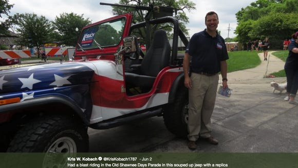 A tweet from Kris Kobach, a Republican candidate for