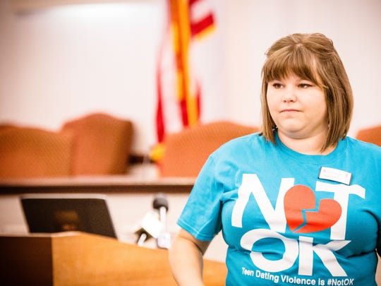 Brittany Winebar was one of five people to put together the #NotOK Teen Dating Violence Awareness  press conference and rally in Carmel on Tuesday.