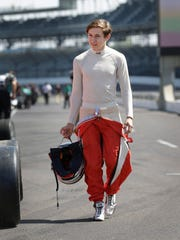Zach Veach gets ready for the Indy Lights test session on May 23, 2016 at the Indianapolis Motor Speedway.