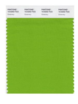 """This image released by Pantone shows a color swatch called """"greenery"""", which has been named as the color of the year for 2017 by the Pantone Color Institute."""