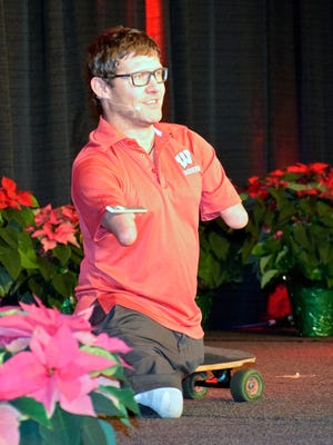 """Chris Koch, from Canada, speaks at the Wisconsin Farm Bureau Federation conference on Dec. 3 in Wisconsin Dells. Koch travels around the world sharing his message of, """"If I Can..."""""""