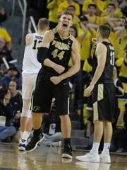 Purdue center Isaac Hass reacts after drawing a foul