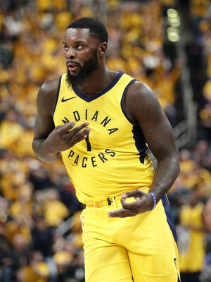 Indiana Pacers guard Lance Stephenson (1) celebrates hitting a three-pointer during the second half of Game 6 at Bankers Life Fieldhouse on Friday, April 27, 2018.