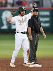 Vanderbilt's Stephen Scott reacts after hitting a double in the bottom of the second inning against Clemson during an NCAA college baseball tournament regional game Saturday, June 2, 2018, in Clemson, S.C. (Bart Boatwright//The Greenville News via AP)