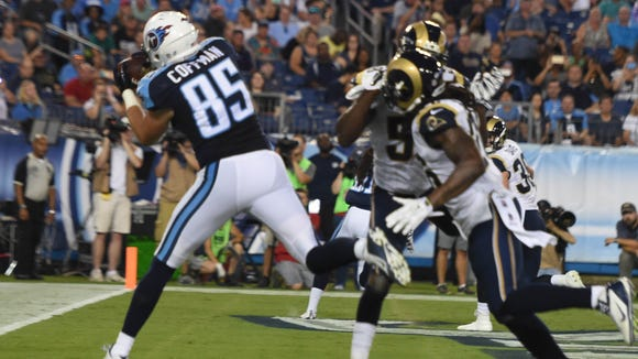 Titans tight end Chase Coffman scores the Titans' second