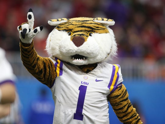 Dec 28, 2019; Atlanta, Georgia, USA; LSU Tigers mascot Mike the Tiger performs during the third quarter of the 2019 Peach Bowl college football playoff semifinal game against the Oklahoma Sooners. Mandatory Credit: Brett Davis-USA TODAY Sports