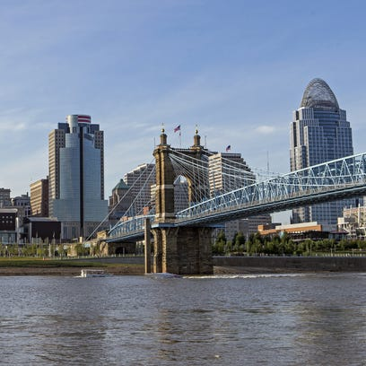 A view of downtown Cincinnati as seen from the banks of the Ohio River in Covington, Ky.