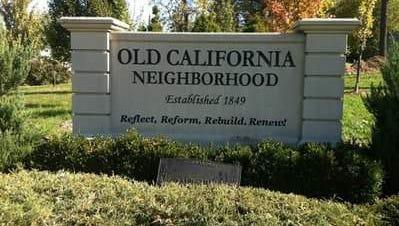 Old California neighborhood monument