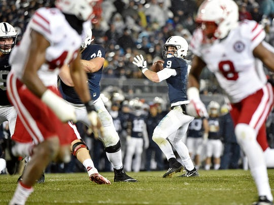Penn State quarterback Trace McSorley looks for a receiver in the first half of an NCAA Division I football game Saturday, Nov. 18, 2017, at Beaver Stadium. Penn State defeated Nebraska 56-44 in its final home game of the 2017 season.