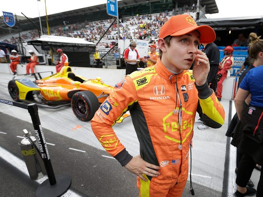 Andretti Autosport IndyCar driver Zach Veach (26) reacts following his run on qualification day for the Indianapolis 500 at the Indianapolis Motor Speedway on Saturday, May 19, 2018.