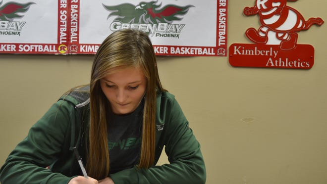 Kimberly High School senior Francesca Wurtz signs a national letter of intent at the school Wednesday afternoon, Nov. 12, to play basketball at University of Wisconsin-Green Bay. Wurtz ranks No. 4 on Kimberly's career scoring list with 1,055 points.