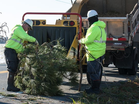 State Highway Administration workers clear fallen tree
