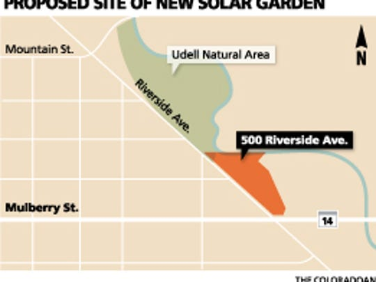 Map of the site of a proposed new solar garden