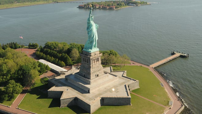 Aerial view of the Hudson river looking North from the Statue of Liberty toward Manhattan and Jersey City.