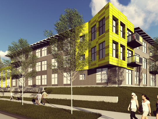 An artist rendering of the Market at Six Points Apartments.