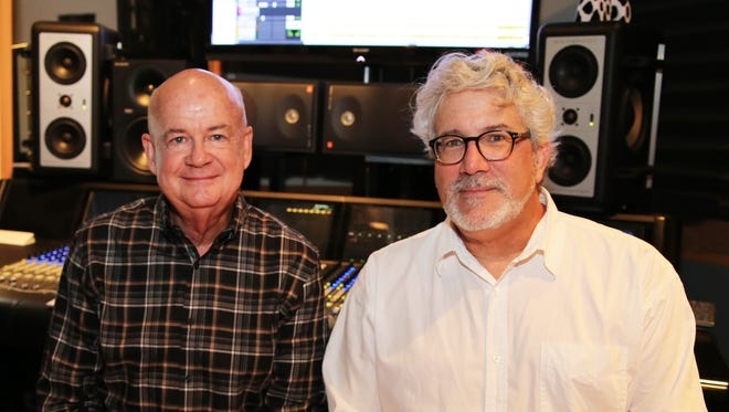 Cliff Williamson, left, COO of Starstruck Entertainment and Vol State faculty member Steve Bishir in one of the two Vol State recording studios.