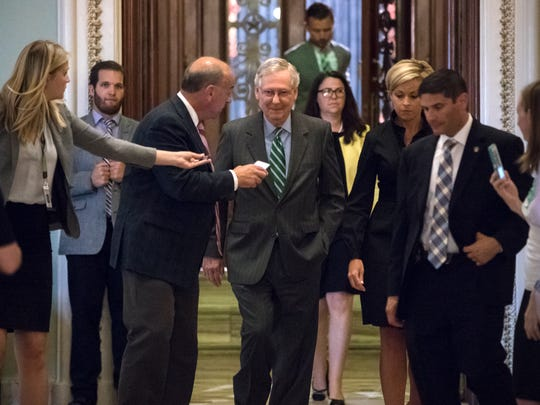 Senate Majority leader Mitch McConnell leaves the chamber after announcing the release of the Republicans' healthcare bill which represents the party's long-awaited attempt to scuttle much of President Barack Obama's Affordable Care Act, at the Capitol in Washington, Thursday, June 22, 2017.  (AP Photo/J. Scott Applewhite)