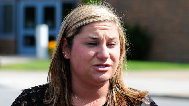 Kayla Herring talks about her brother Kevin Ward Jr. at his funeral Thursday in Turin, N.Y.