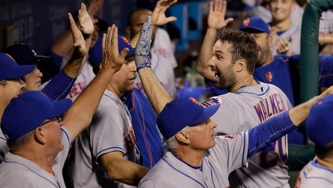The Mets' Neil Walker did a different kind of celebrating this week after becoming a father for the first time.