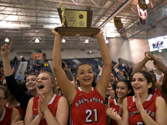 Bound Brook vs University in Public Group 1 Girls Basketball Final in Toms River NJ, on March 12, 2017.