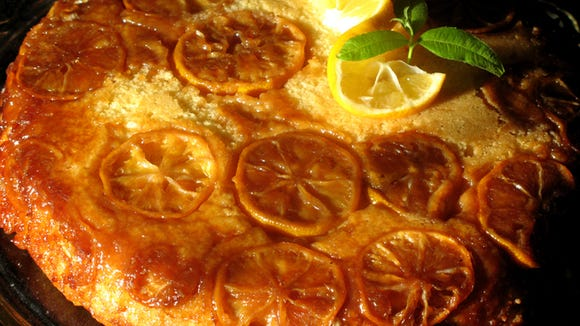 Meyer lemons are used to make this tangy upside-down skillet cake.
