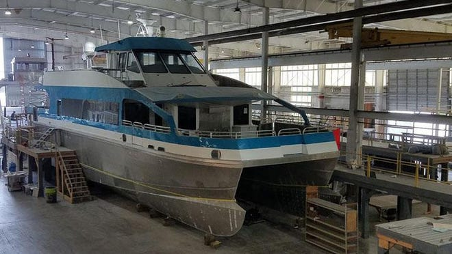 A 92-foot passenger ferry for N.C. Department of Transportation is being built at the Waterline Systems facility in Hubert.