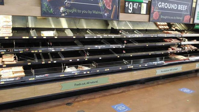 Sparse shelves in the meat section of Walmart have nothing to do with support or opposition of President Donald Trump.