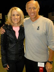Mark Weil, founder of the Ojai-based Weil Academy, right, poses for a photo with tennis legend Tracy Austin. Weil says if Austin had stayed healthy she may have gone down as the greatest women's tennis player in the history of the sport. Austin will be honored at this year's Ojai Tennis Tournament.