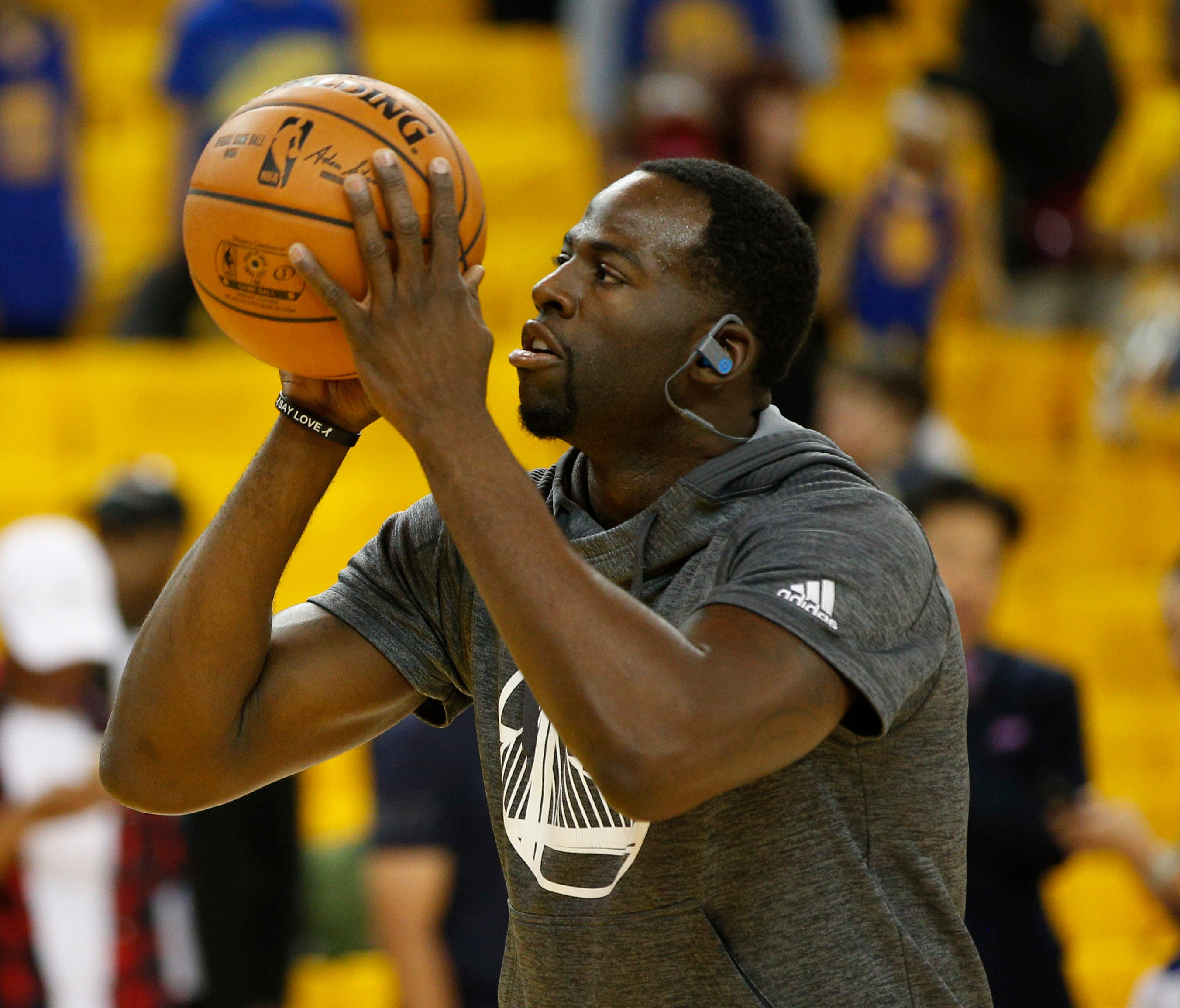 Golden State Warriors forward Draymond Green warms up before Game 2 of the 2017 NBA Finals against the Cleveland Cavaliers.