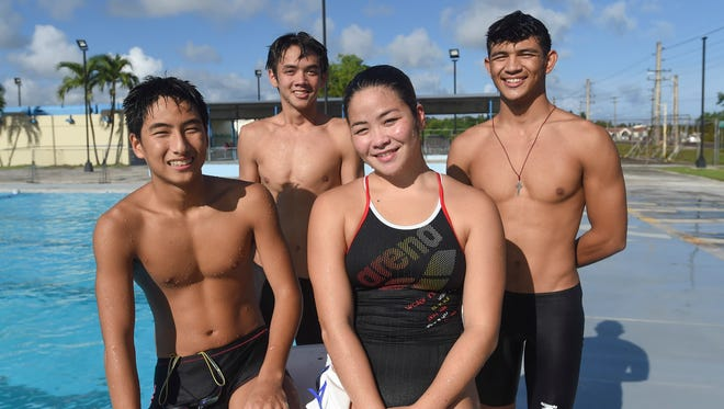 Team Guam swimmers during a practice at the Hagåtña Pool on June 12, 2018. From left: Mark Imazu, 14, Santiago Poppe, 16, Mineri Gomez, 17, and Tanner Poppe, 17. The four swimmers will be representing Guam, along with Brown University's Jagger Stephens, in the Oceania Swimming Championship at Papua New Guinea on June  25 - 30.