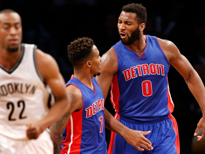 Detroit Pistons center Andre Drummond (0) celebrates