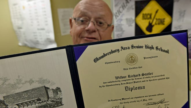 Richard Statler, seen June 21, 2016, received an honorary diploma on May 24 from Chambersburg Area Senior High School - where he will retire in coming days - after dropping out during his junior year 50 years ago.
